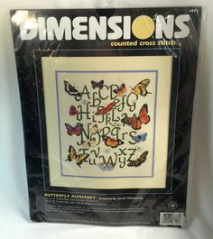 Dimensions Himsworth Butterfly Alphabet ABCs Counted Cross Stitch Kit USA 12x14 #Dimensions