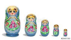 """Téléchargez la photo libre de droits """"Blue russian nesting dolls in line"""" créée par ProMotion au meilleur prix sur Fotolia.com. Parcourez notre banque d'images en ligne et trouvez l'image parfaite pour vos projets marketing !"""