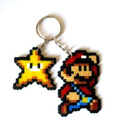SUPER MARIO BROS sprites keyrings broochs by FreakCreations