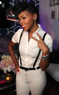 Janelle Monae - I thnk this might be what she wore for SNL. I freaking LOVE her style. Love those suspenders Black Is Beautiful, Beautiful People, Black Girls, Black Women, Fashion Beauty, Womens Fashion, Swag Fashion, Asos Fashion, Dope Fashion