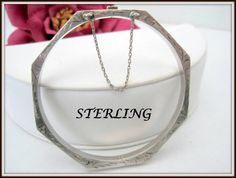 Sterling Silver Bracelet -  Etched Trim -  Hinged with Safety Chain - Sterling Bangle