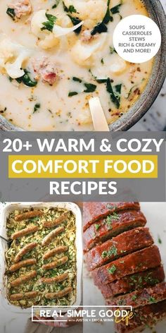 From rich and creamy dishes to casseroles, soups and stews – we are giving you all the cozy comfort food recipes in this roundup! Get ready to warm up your belly with some new comforting recipes. Food is our love language, so creating cozy and satisfying recipes for families to share is a joyful process for us. | @realsimplegood #paleorounduprecipes #paleodiet #paleofallrecipes #paleodiet #paleorecipe #healthycomfortfood #healthywinterrecipes Paleo Fall Recipes, Real Food Recipes, Healthy Recipes, Paleo Cornbread, Healthy Orange Chicken, Balsamic Vinegar Chicken, Hashbrown Breakfast Casserole, Chicken Enchilada Soup, Healthy Comfort Food