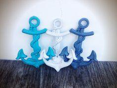 BOLD set of 3 NAUTICAL anchor hooks // slate blue grey white & aqua blue // wall towel hook // sailor beach // shabby cottage chic cast iron on Etsy, $40.00