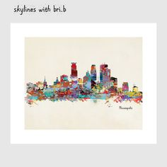 Hey, I found this really awesome Etsy listing at https://www.etsy.com/listing/210718583/minneapolis-skyline-colorful-modern-pop