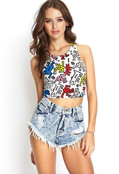 Cutout Keith Haring Crop Top | FOREVER21 - 2000069261