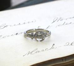 Antique Art Deco Diamond Crescent Moon & Scimitar Sword Ring, 18k White Gold Engagement, Carved Orange Blossom Band, Vintage Masonic Symbol