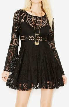 Free People Lace Lovers Folk Song Bell-Sleeve Flared Dress (This dress could be country, emo, or boho-chic! I love its versatility!)