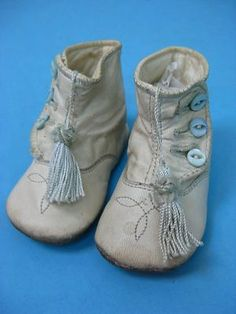 Pair of Vtg Victorian Antique Leather Child Baby Infant Shoes Boots | eBay