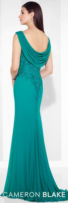 Formal Evening Gowns by Mon Cheri - Spring 2017 - Style No. 117611 - jade green evening dress with ruched cap sleeves and bodice and draped cowl back