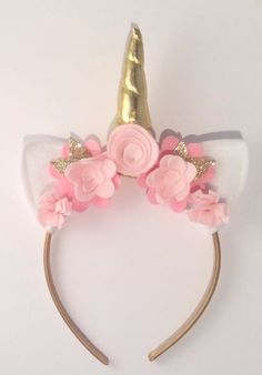 Unicorn Birthday Party Head Piece. A little ray of sunshine with pastel pink felt flowers and gorgeous gold unicorn horn! perfect for any unicorn party, festival or photo shoot.