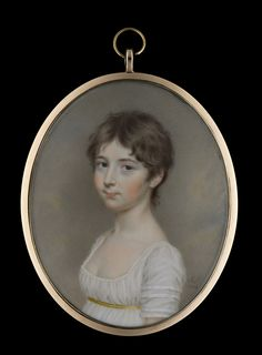 Portrait miniature of a Young Girl, possibly Miss E. Lambert, wearing a décolleté white dress with thin gold waistband, her hair worn short. Watercolour on ivory, inscribed Catalogue John Smith, Portrait Art, Portrait Paintings, Historical Hairstyles, Lovers Eyes, Sense Of Life, Romantic Period, Miniature Portraits, 17th Century