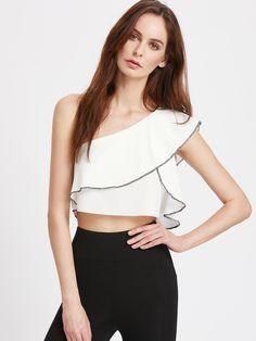Shop Oblique Shoulder Contrast Binding Ruffle Top online. SheIn offers Oblique Shoulder Contrast Binding Ruffle Top & more to fit your fashionable needs.