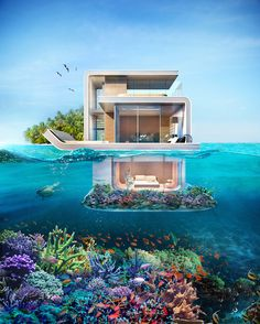 a floating house with an underwater view.