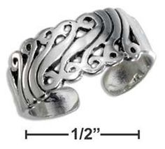 SCROLL STERLING SILVER TOE RING