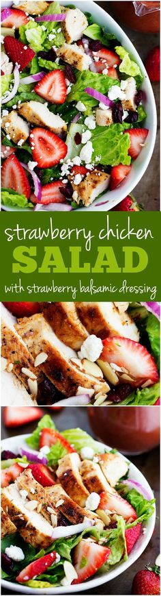 Strawberry Chicken Salad with Strawberry Balsamic Dressing - Full of fresh strawberries and topped with a strawberry balsamic dressing. Perfect for summer!