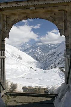 Taken through the gate of our lodge in Yak Kharka, looking back in the direction we'd walked.