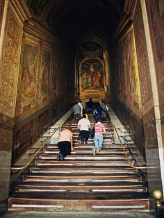 The Scala Sancta (Holy Stairs) in Rome, are, according to the Christian tradition, the steps that led up to the praetorium of Pontius Pilate in Jerusalem, which Jesus Christ stood on during his Passion on his way to trial. The stairs were, reputedly, brought to Rome by St. Helena in the 4th Century.
