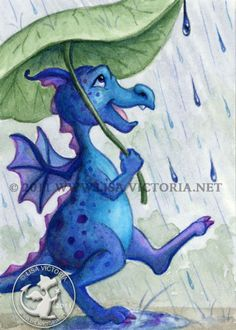 Dragon art, art print, nursery art, nursery artwork, fine art print, friendly dragon, dragon, dragons, Rain Dragon, rain, Lisa Victoria, fantasy, fantasy art, fairies, fairy tale, greeting card, magnet, sticker, blue, green, children's decor, kid's wall art