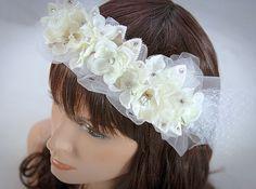 Exquisite Vintage Inspired Ivory Bridal Headpiece-$144.00 #vintageweddings #bridalheadband #bridalcrown #bridalheadpiece #bridaltiara #weddings #tulle #pearl #vintage #rhinestone #ivoryweddings #ivory