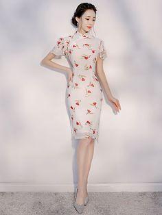 White Floral Ruffle Sleeve Qipao   Cheongsam Dress. Cheongsam ModernChinaChinese  ... 00018afeca