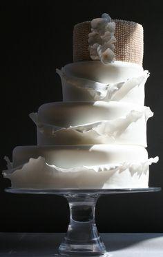 Ruffle and pearl cake Fondant Cakes, Cupcake Cakes, Cupcakes, Take The Cake, Love Cake, Unique Cakes, Creative Cakes, Gorgeous Cakes, Pretty Cakes