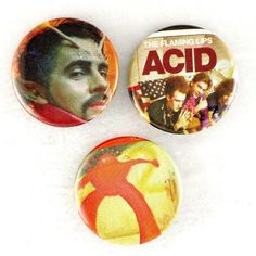 Flaming Lips ACID Fash Badge Set, Yoshimi Wayne Coyne LP Music Pins Buttons by JeepsterVintage on Etsy