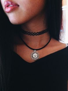 A thin leather or lace choker, piled with other thin necklaces looks fantastic with a white shirt and jeans for a casual chic office look. Description from thefashiontag.com. I searched for this on bing.com/images