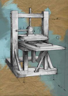 Ilustración de una imprenta
