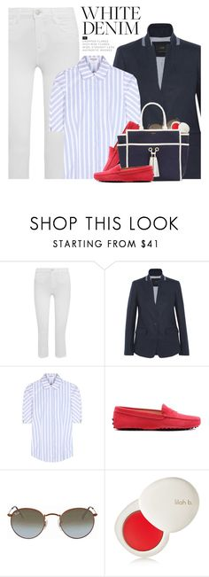 """Summer Denim: Yacht Club"" by hollowpoint-smile ❤ liked on Polyvore featuring L'Agence, J.Crew, Thom Browne, Tod's, Ray-Ban, lilah b. and Melissa Odabash"
