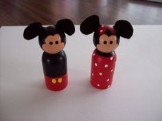 Mickey Mouse and Minnie Mouse Peg Dolls