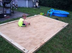 Home made sandbox: 8 2x6 or 2x8 pieces of pressure treated wood.  We made our sandbox 6x10.  Set up the perimeter one layer deep with wood.  Lay out weed cloth and staple using heavy duty stapler.  Add second layer of wood and nail pieces together.  Fill with 15  50lb bags of play sand.  Keep covered with a large tarp stationed with bricks.  We have 14 bricks.  All materials purchased at Home Depot at under $150