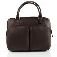 Laptopbag made of dark brown grain leather at Desiary