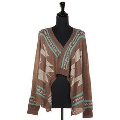 Mocha Mint Aztec Tribal Cardigan Sweater
