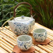 Blue dragonflies porcelain Japanese tea set with speckled glaze allows you to savor a quiet moment in your garden. Boxed set. 20 oz. teapot w two 4 oz. cups