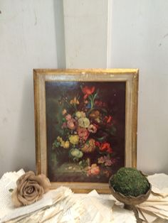 Large Italian Wood Floral Paper Mache Plaque by DaphsSmallWorld