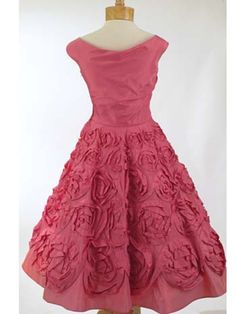 50'S Ceil Chapman Rose Pink Silk Party Dress - back view