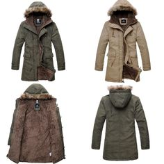 MEN'S Military Hooded FUR Collar Winter Warm Long Coat Jackets Parka Outerwear | eBay
