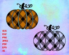 Buffalo plaid pumpkin SVG - Cut file - DXF file - Autumn svg - Fall svg - Thanksgiving shirt svg - H Shaka Sign, Cat Clipart, Autumn T Shirts, Cat Silhouette, Free Svg Cut Files, Vinyl Projects, Buffalo Plaid, Svg Cuts, Halloween Pumpkins