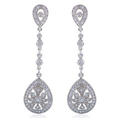 EVER FAITH Bridal Art Deco Classical Gatsby Inspired Pave Cubic Zirconia Chandelier Earrings Pierced - This fabulous jewelry is made of cubic zirconia and the bedazzling stones make you feel more ladylike. Cubic zirconia, as a beautiful synthetic stone that is durable, lustrous and entirely colorless. It is frequently used in jewelry.Sparkle under lights, telling its quality to everybody. Ever Fai...
