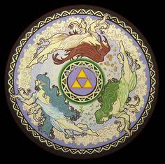 The Legend of Zelda | The Goddesses Din, Farore, and Nayru / 「ゼルダの伝説 25周年. 黄金の三大神」/「lichu」のイラスト [pixiv]