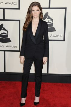 Anna Kendrick in a Band of Outsiders suit with Jimmy Choo heels