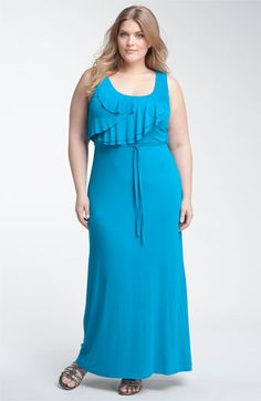 Calvin Klein Ruffle Front Jersey Maxi Dress (Plus) available at Nordstrom