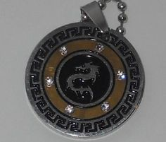 Mens Dragon Pendant with chain stainless steel