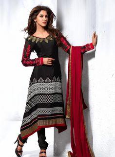 Black Anarkali With Chudidar For Special Occassions . Shop at - http://www.gravity-fashion.com/sample-salwar-kameez-8035.html