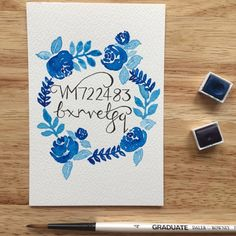 Items similar to Floral wreath wifi code - watercolour painting - abstract floral wreath - guesthouse - bed and breakfast - unframed artwork on Etsy Watercolor Paintings Abstract, Blue Painting, Watercolor Paper, Wifi Code, Marketing Merchandise, Craft Gifts, Color Splash, Hand Lettering, Floral Wreath