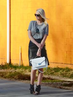 Markus Lupfer tee + leather pencil skirt