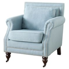 Featuring a birch wood frame and nailhead trim, this sky blue arm chair is the perfect addition to your living room or parlor. Feature it among contemporary ...