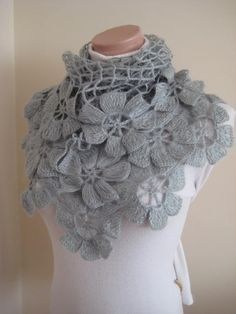 Floral Gray Shawl - Grey Flower Triangle Cowl, Neckwarmer - Gift for Her - Ready to Ship - Crochet Shawl