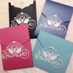 Make Any Invitation a Disney / Princess Invitation with Princess Cinderella Coach / Carriage Pocket Seals or Embellishments by NikaPaperworks on Etsy https://www.etsy.com/listing/192926981/make-any-invitation-a-disney-princess
