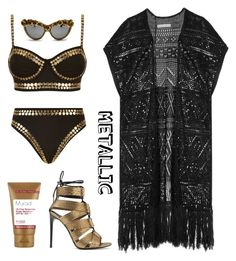 """Metallic Swimwear #1"" by syifasalz on Polyvore featuring Norma Kamali, Alice + Olivia, Tom Ford, A-Morir by Kerin Rose and Murad"